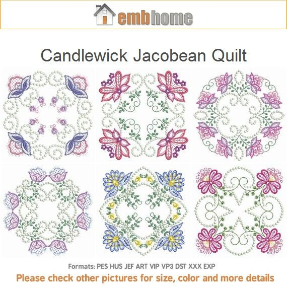 Candlewick jacobean quilt heirloom machine embroidery designs