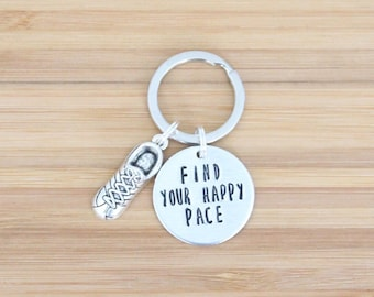 hand stamped keychain   find your happy pace