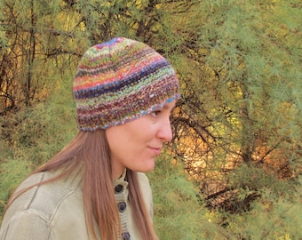 Handspun, Handknit Wool Hat. Soft Merino Cap. Light Rainbow of Colors. OOAK