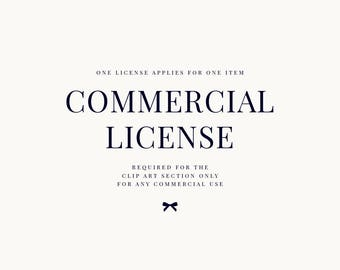 Commercial license for the CLIP ART section only. For a single product. No credit required.