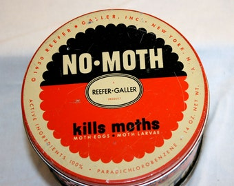 1950 Reefer-Galler No Moth Tin//Potpourri Tin//Collectible Tin//Vintage Tin