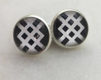 Black and white glass dome stud earrings. 12mm with surgical steel and nickel free posts