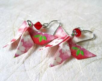 Origami Earrings - Paper Earrings - Butterfly Earrings - Origami Jewelry - Paper Jewelry - Valentine's gift for her - WC10 - VonnesHandmadez