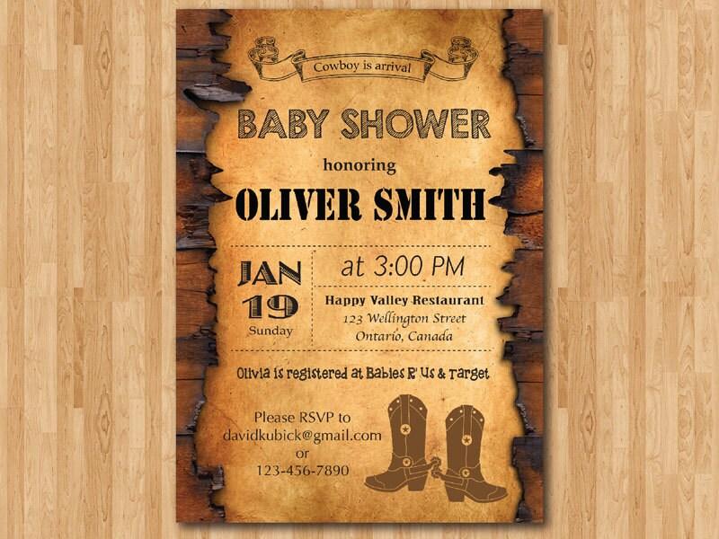 Cowboy Baby Shower Invitation. Western Boy Baby Shower Invite.