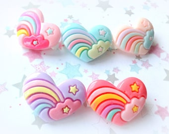 Kawaii Rainbow Heart Brooch Pin, Fairy kei, sweet lolita, Cute Badge Pin,  Rainbow Brooch Pin Back, Pastel Hearts, Kawaii Resin Brooch