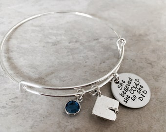 She believed she could so she did bangle bracelet personalized graduation gift graduation cap