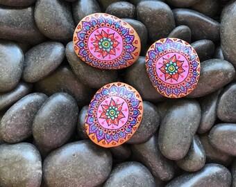 Set of 3 Flower Handpainted Rocks