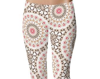 Bohemian Yoga Leggings, Brown and White Yoga Tights, Hippie Yoga Pants, Printed Mandala Leggings