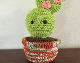 Bailey The Cactus-Crochet Cactus-Cactus-Amigurumi-Cactus with Flowers-Crocheted Cactus-Cactus Gift-Pin Cushion-Home Decor-Gift