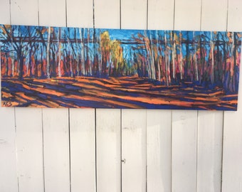 16x48 inch (1-5/8 deep sides) Original Acrylic Edmonton Alberta River Valley Tree lined Landscape on Canvas - 'where the heart travels'