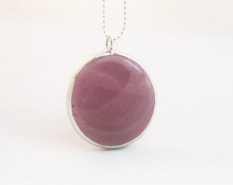 Simple Pendant | Glossy Mauve | Stained Glass | Fused Glass