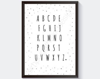 Alphabet Print, Nursery Alphabet Print, ABC Letters Print, Alphabet Print, Children Printable, Wall Art Poster Print, INSTANT DOWNLOAD