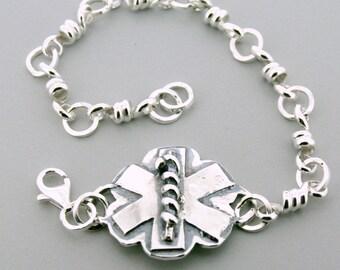 Medic Alert Bracelet - Medical ID Bracelet - Sterling silver bracelet - handmade medic symbol - silver medic alert