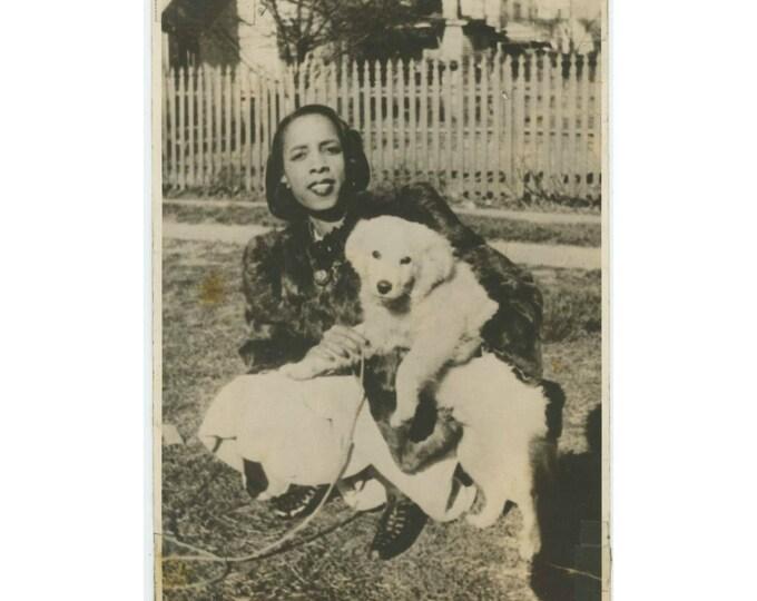 Vintage Snapshot Photo, c1940s: Fur Coated Gal w/ Fur Coated Dog  (710612)
