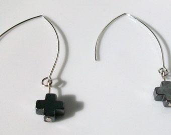 Hematite cross ear wire earrings