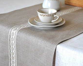 Table Runner Natural Linen Runners Lace Table Runner Gray Linen Table  Runners Gray / White Tabletop