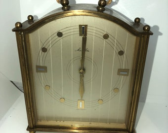 Mauthe Metal Vintage Wind Up Clock - Not Working Looking For A Fixer - Carriage Clock - Mantel Clock - Antique Clock
