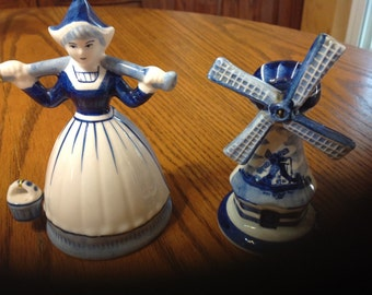 Vintage Blue Delft Milk Maiden And Windmill