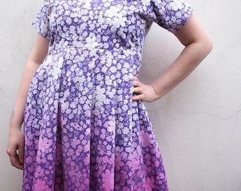 KiTSCHSPLASH! collection purple floral dip-dye babydoll dress o.o.a.k. made in u.k. size L UK 16