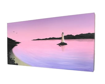 Lighthouse at Dawn Original Painting - acrylic seascape of a peaceful morning scene, with a lighthouse under a pale pink and purple dawn sky