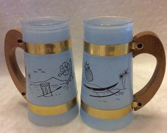 Vintage 1950's Siesta Ware beach decor wood handle glass tumblers.
