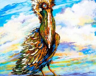 Louisiana Brown Pelican,Louisiana State Bird,Swamp and Bayou Art,Pelican with Bad Hair Day, Pelican Gift - 'Bedhead Boudreaux'
