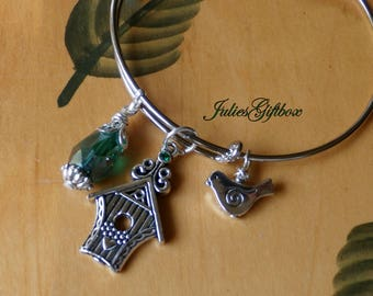 Bird House, Little Birdie & Green Crystal Expandable Bracelet -Ready to Ship Free US Domestic