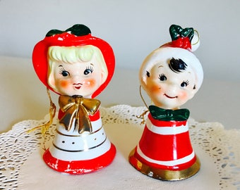 Vintage Lefton Christmas Boy and Girl Bell Figurine Santa Hat Japan 1950's