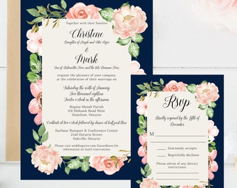 Wedding, Invitation Set, Floral, Flowers, Romantic, Navy, Blush, Pink, Classic