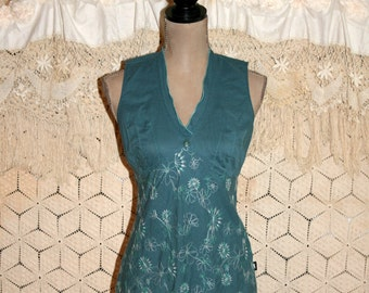 Women Sleeveless Summer Top Teal Cotton Empire Waist Embroidered Blouse Boho Top Boho Clothing XS Small Womens Tops Womens Clothing