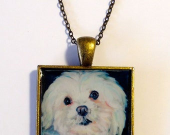Pet Portrait Pendant Necklace With Your Own Pet