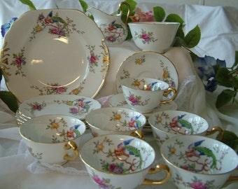 21 piece New Chelsea English fine bone china exotic bluebird pink flowers tea set