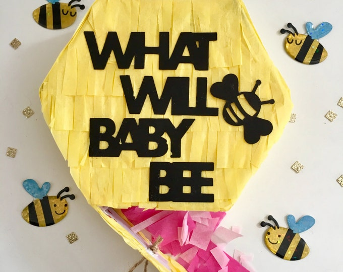 Gender Reveal Pull String Pinata, Gender Announcement, What Will Baby Bee? We're Having a Baby, Balloon Pop Box
