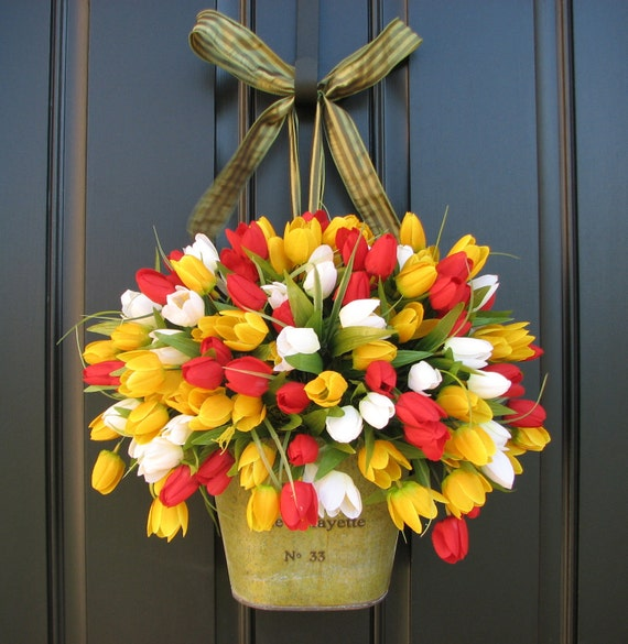 Country Front Door Decorations: Items Similar To Spring Tulips