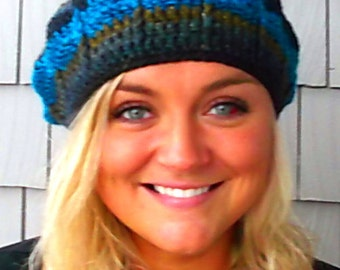 Sparkles and Radiating Stripes Teal Borealis  Crochet Slouch Beanie Hat