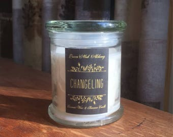 Changeling Candle 10 oz / Fairy / Gift / Queen Mab / Container Candle / Handpoured / Magic / Coconut Wax / Beeswax