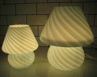 Murano glass lamps etsy bogo 40 off sale pair of vintage midcentury venini murano style mushroom glass aloadofball Images