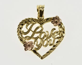 14K I Love You Cursive Flower Accent Heart Pendant Yellow Gold