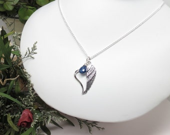Heart Angel Wing, Loss Of Loved One, Angel Wing Necklace, Condolence Jewelry, 15-24 Inches, Angel Wing Pendant Necklace In Sterling Silver