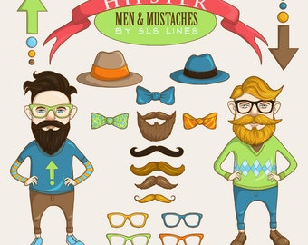 Hipster clipart, funky men clip art moustache beard and glasses illustrations, commercial use