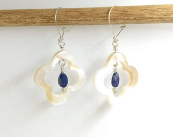 Sodalite and Mother of Pearl Clover Earrings