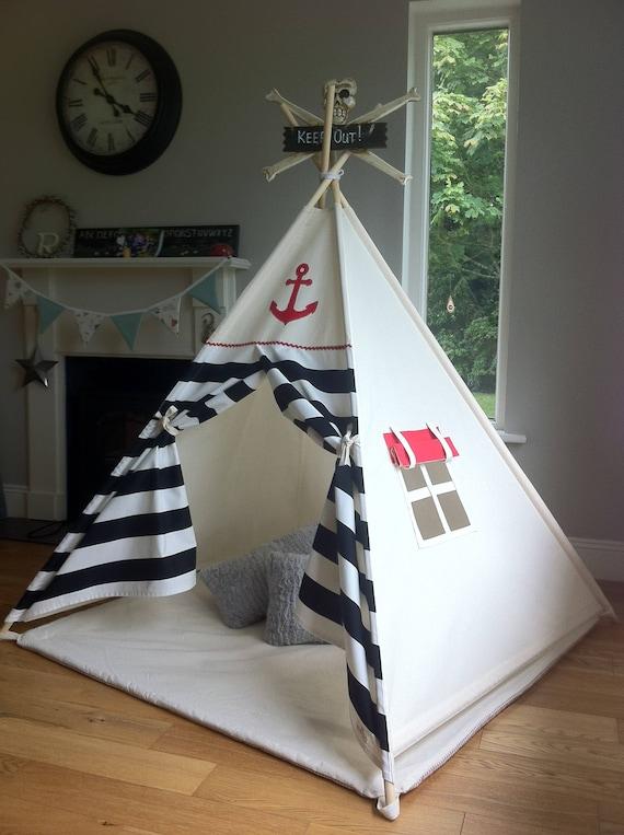 Tente de jeu tipi Ahoy Matey noir Pirate pour enfants /