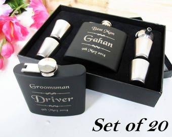 20 Groomsman Flask Gift Set and Shot Glass Set with Funnel