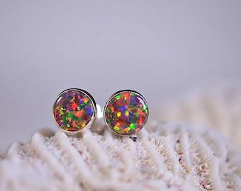 Black Opal Stud Earrings  Post Earrings Gemstone Jewelry Birthstone October