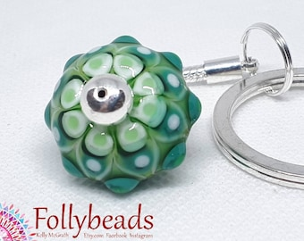 Handmade Lampwork Glass bead keyring, Bag charm in Greens.