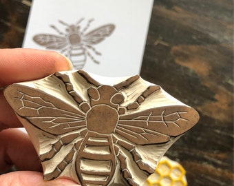Honey Bee Rubber Stamp Hand Carved Bee Stamp