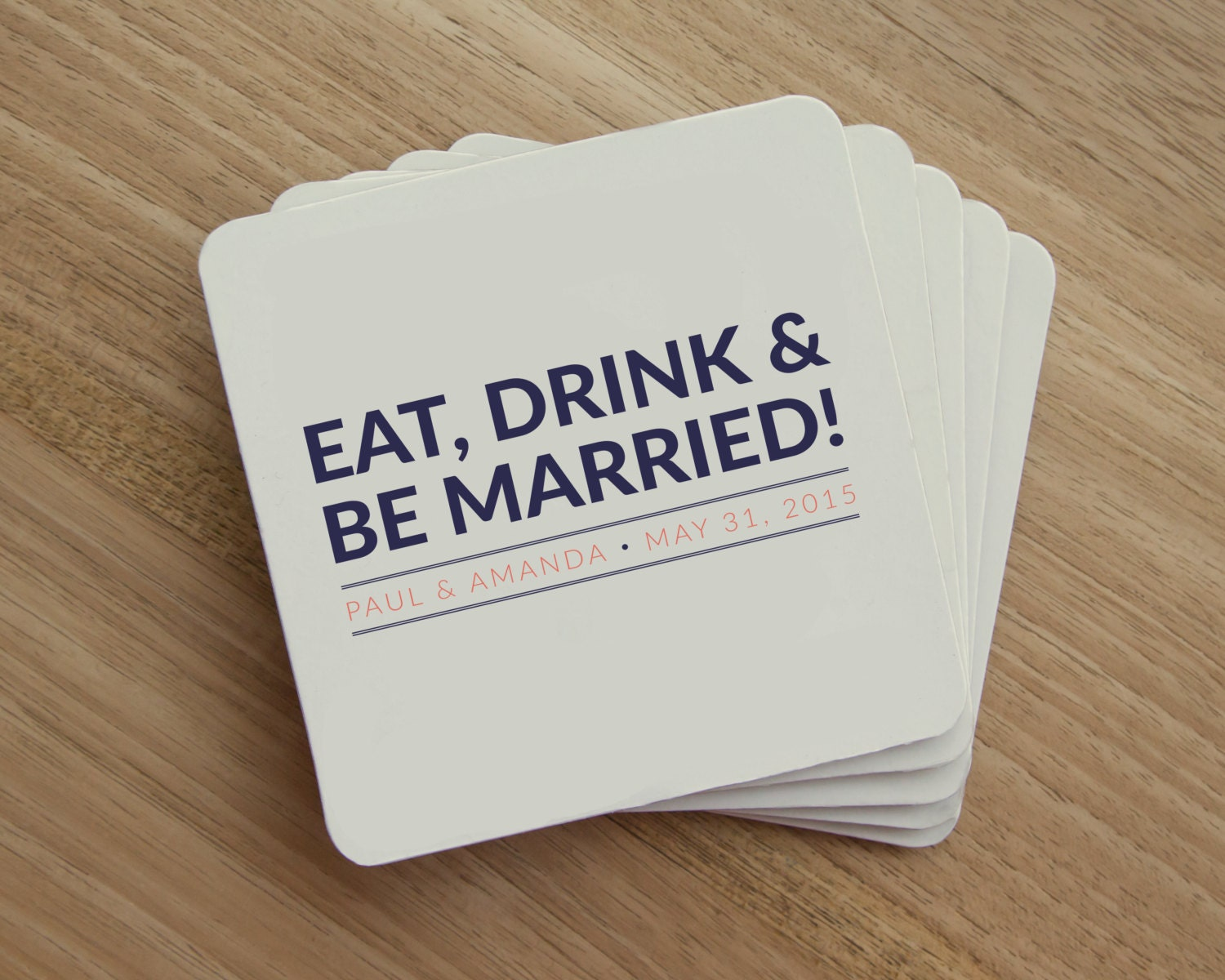 Drink Coaster Eat Drink and Be Married Personalized