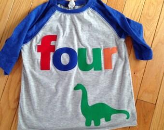 Four dinosaur birthday t shirt, boys dino birthday shirt, 4th birthday dinosaur shirt, reglan style shirt, primary colors shirt