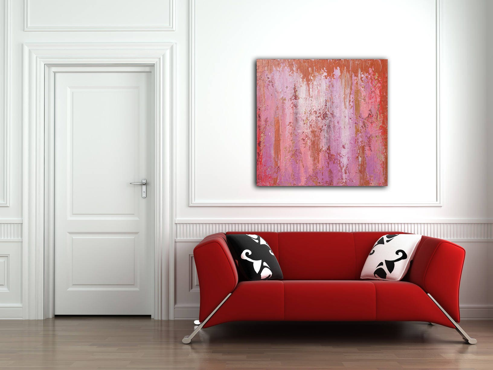 Excellent Original Painting 24x24 Canvas Art Original Art Pink Abstract  IW49