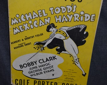"""Vintage 1943 """"I Love You"""" Music and Song Book by Cole Porter from Mexican Hayride"""